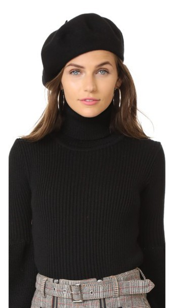 Hat Attack beret wool black hat
