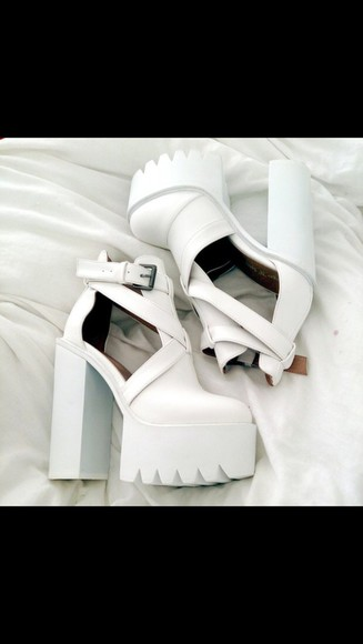 buckles white platform shoes cut out ankle boots white high heels chunky heels chunky boots chunky chunky sole platform high heels jeffrey campbell heels