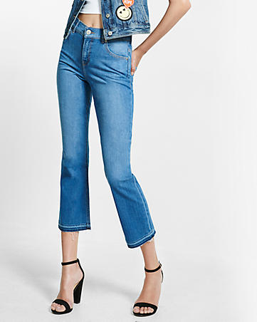 high waisted released hem bell crop jeans