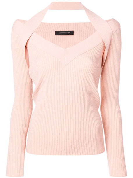 Cédric Charlier top knitted top women purple pink