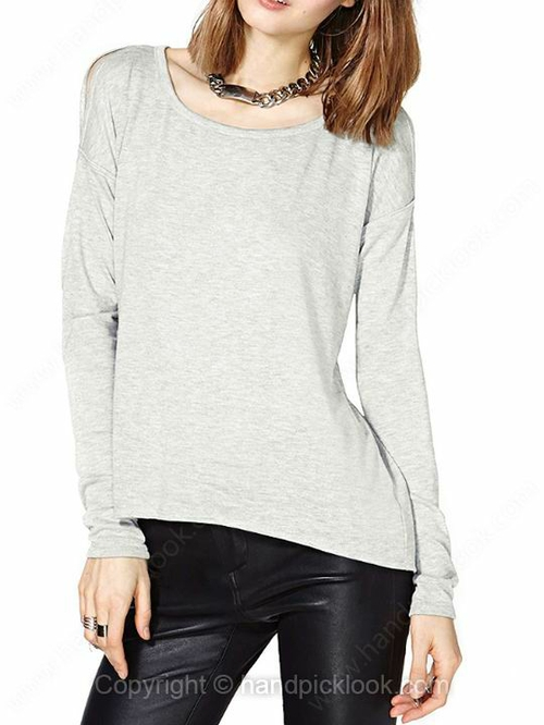 Light Grey Round Neck Long Sleeve T-Shirt - HandpickLook.com