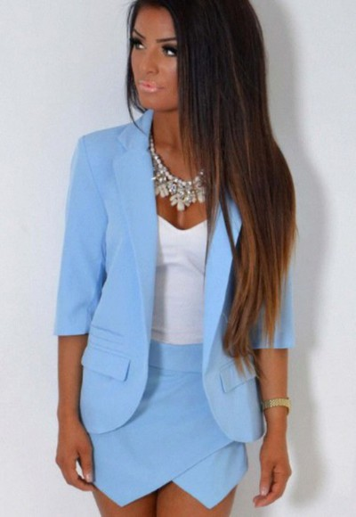 blue skirt jacket baby blue necklace