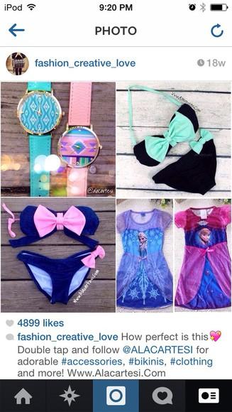 swimwear blue pink jewels