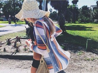white sweater cardigan blue hat colorful cool print floppy hat stripes orange