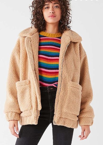 coat moumoute beige jacket winter coat