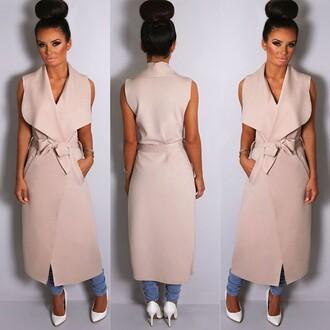 coat pink boutique beige