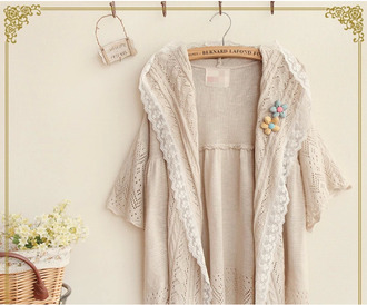 cardigan crotchet cardigan asian fashion kfashion korean fashion cfashion chinese fashion japanese fashion tokyo fashion beige beige cardigan lace trim embroidered cardigan jacket embroidered
