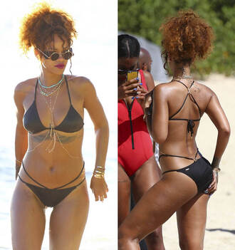 swimwear bikini bikini top bikini bottoms rihanna summer beach black bikini