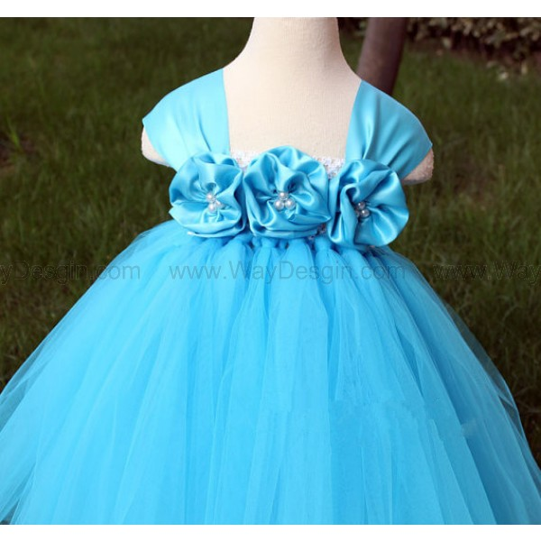 Flower Girl DressTurquoise tutu dress baby dress toddler birthday dress wedding dress