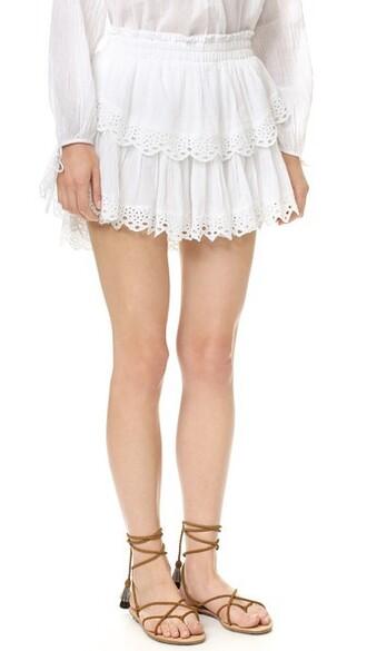 miniskirt ruffle white skirt