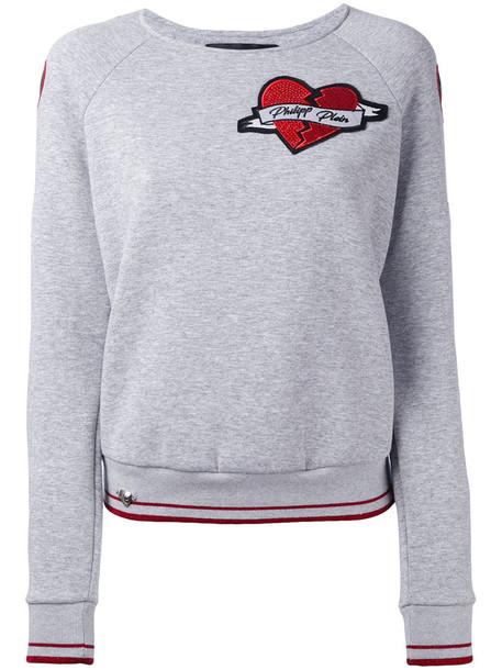 Philipp Plein - heart sweatshirt - women - Cotton/Polyester/glass - XS, Grey, Cotton/Polyester/glass