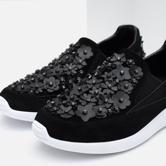 zara black sneakers with flowers cheap