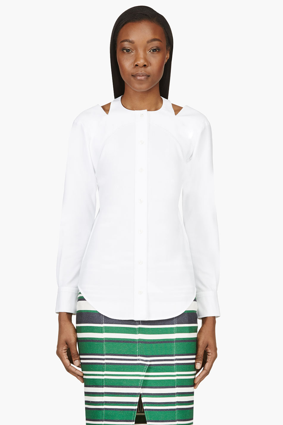 Thom browne white inside out halter tuxedo shirt for Thom browne white shirt