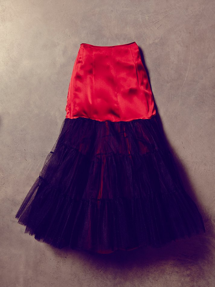 free people womens vintage red silk and tulle skirt