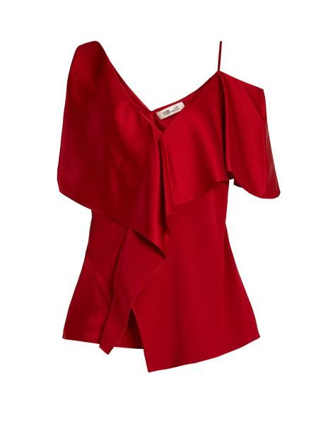 Diane Von Furstenberg top cut-out shoulder top cut-out red