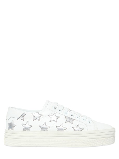 Saint Laurent classic sneakers leather silver white shoes