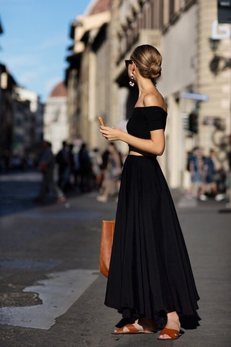 dress black dress black maxi dress maxi skirt long dress long skirt boho girly top crop tops black top cropped cropped tank top sunglasses earrings brown shoes flats bag underwear skirt