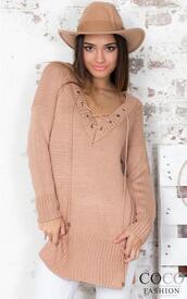 sweater,coco fashion,peach,lace up jumper