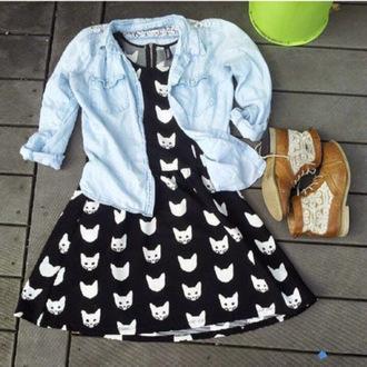 dress spring dress cats black white black and white t-shirt denim shirt lightwash lightwash denim lightwash denim shirt boots shirt shoes jacket