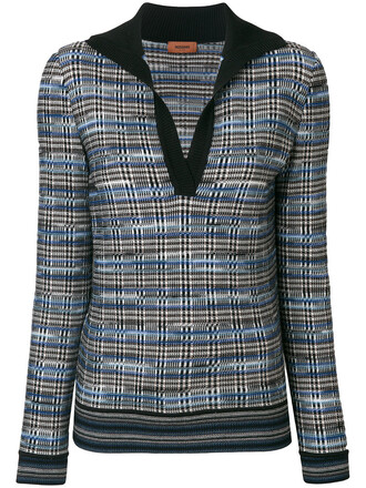 jumper women plaid blue wool sweater
