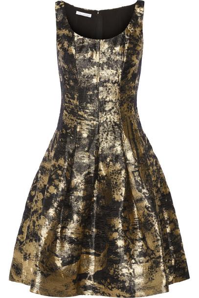 oscar de la renta dress metallic jacquard gold black