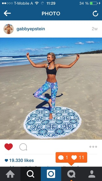 home accessory towel beach doormat yoga white mandala beach dress beach shoes yoga pants black fashion fitness