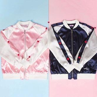 jacket girl girly girly wishlist pink blue satin satin bomber heart bomber jacket
