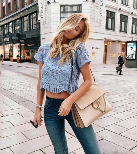 blouse blue lace crop tops