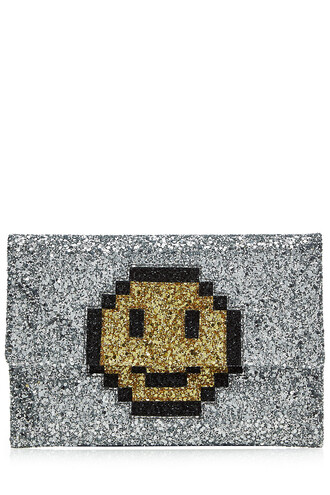 leather clutch glitter smiley clutch leather silver bag