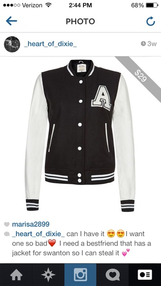 jacket black and white varsity jackets one in a million cute warm