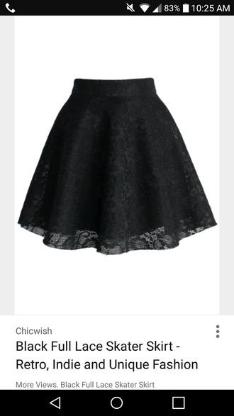 skirt black lace skirt skater skirt
