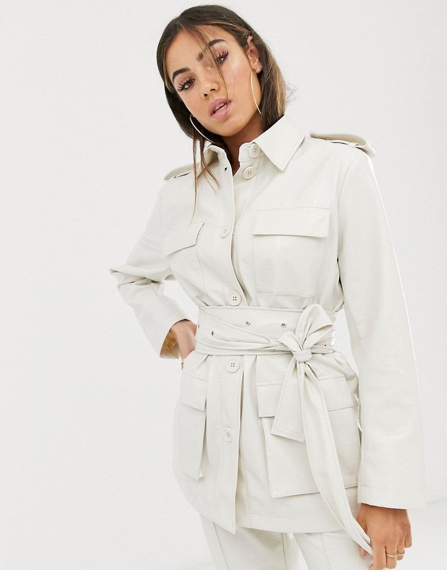 ASOS DESIGN vinyl belted suit blazer
