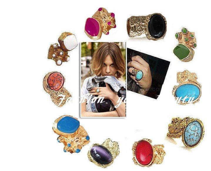 бесплатно shippping~~hot продаёи!!! фантастический 5 цветов goldtone сплава каменные кольца, камень арти