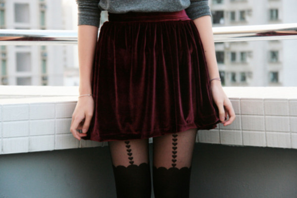 skirt velvet bourbon red red skirt skater skirt red velvet mini skirt grunge punk burgundy tights