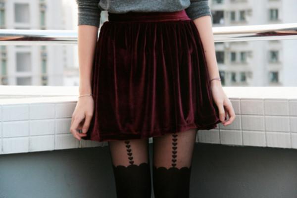 skirt velvet bourbon red red skirt skater skirt red velvet mini skirt grunge punk burgundy tights