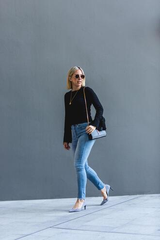 leatherandlattes blogger sweater jeans shoes sunglasses jewels bag ysl bag pumps skinny jeans spring outfits