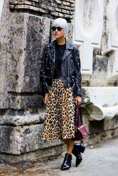 leopard print skirt fashion week 2014 streetstyle fall outfits