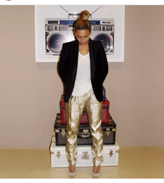 pants gold trouser