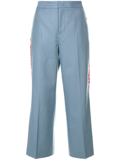 PT01 cropped women spandex blue wool pants