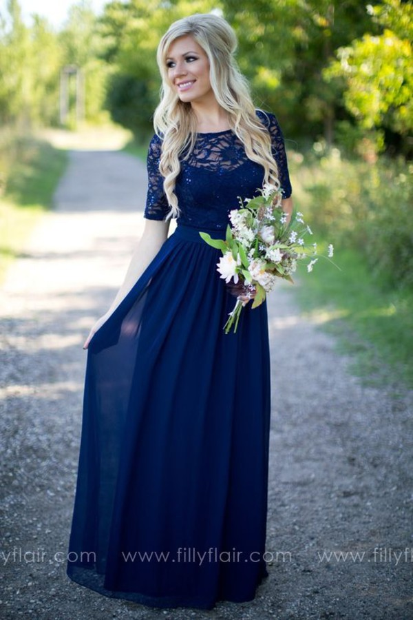 Chic Midnight Blue Bridesmaid Dresses Long 2016 Lave See