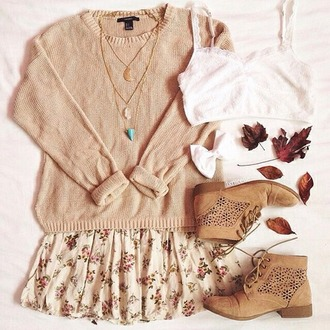 skirt floral skirt fall vintage vintage skirt fiori panna gonna short skirt season elegant elegant skirt girly girl fashion skirt moda i want this outfit i want everything i want this skirt underwear sweater