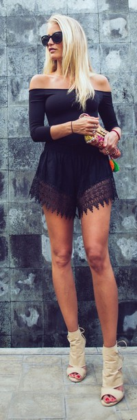 top lace shorts off the shoulder top