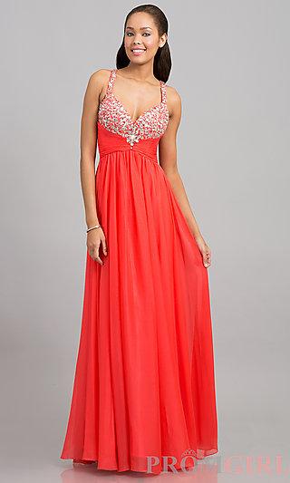 Beaded V-Neckline Prom Gowns, Nina Canacci V-Neck Gowns-PromGirl