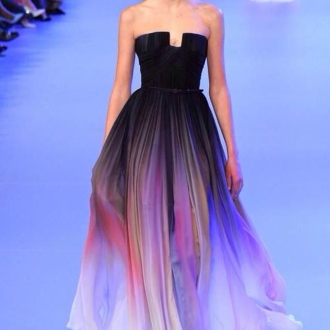 Vestido де Феста Elie Saab 2014 градиент цвета шифона Вечерние платья Выпускные платья партии платье