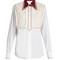 Guipure-lace bib cotton-poplin shirt
