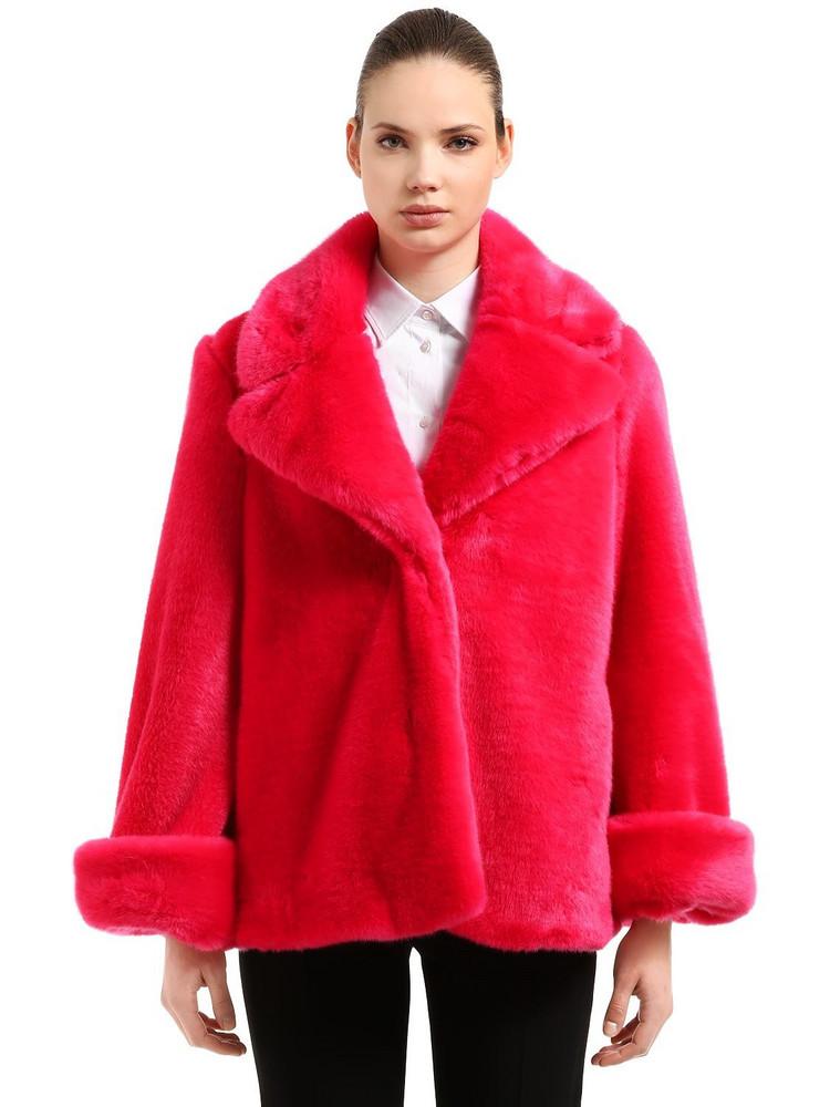 VIVETTA Faux Fur Jacket in fuchsia