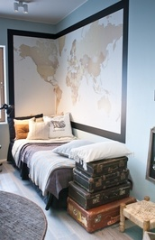 pants,traveling,tan,neutral,adventure,map print,hipster,travel,world,home decor,wall decor
