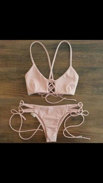 swimwear nude pink strappy bikini cheeky