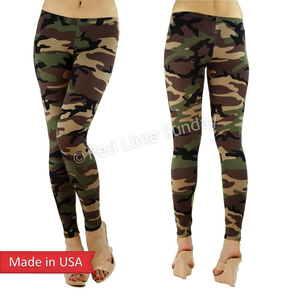 New Women Fitted Slim Army Camouflage Camo Cotton Print Leggings Tight Pants USA
