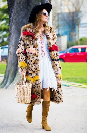 bag basket bag nude bag dress white dress white lace dress lace dress boots lace up boots brown boots suede boots mid heel boots anna dello russo coat fur coat multicolor sunglasses hat black hat streetstyle big fur coat
